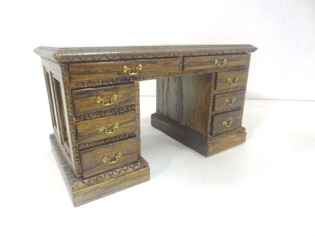 Reminiscence Flat Top Oak Style Desk Dollhouse