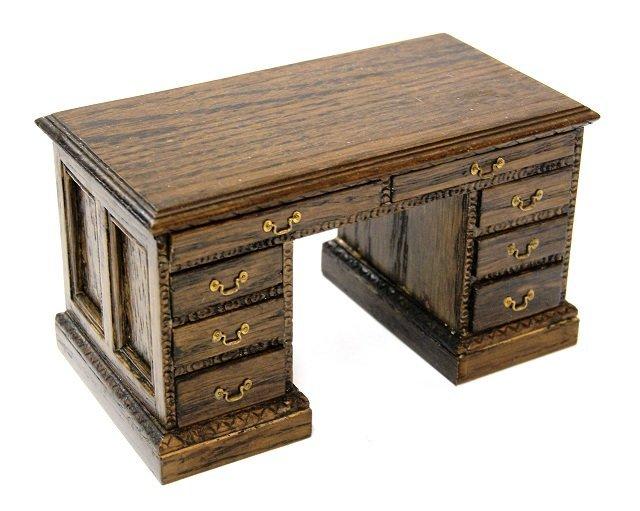 Reminiscence Flat Top Oak Style Desk Dollhouse - 2