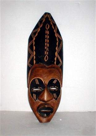 African Mask with simulated headdress.