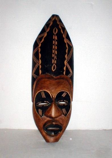 3: African Mask with simulated headdress.