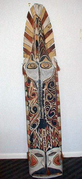 Ceremonial Shield wood carved elaborately painted