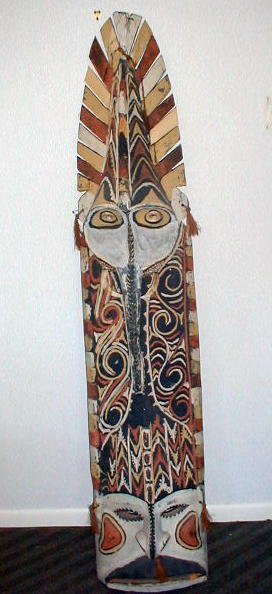 19: Ceremonial Shield wood carved elaborately painted