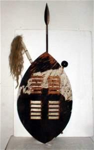 26: Zulu zebra-skin ovoid Shield with club, spear