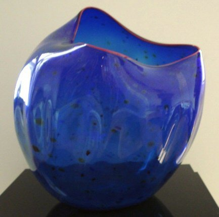 103: Chihuly Glass Colbalt Blue Basket