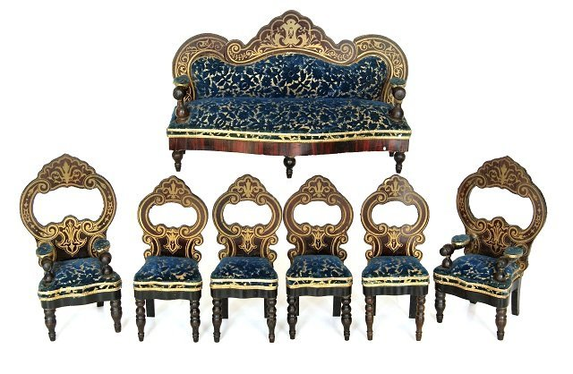 Antique Biedermeier Dollhouse Parlor Seating Miniatures
