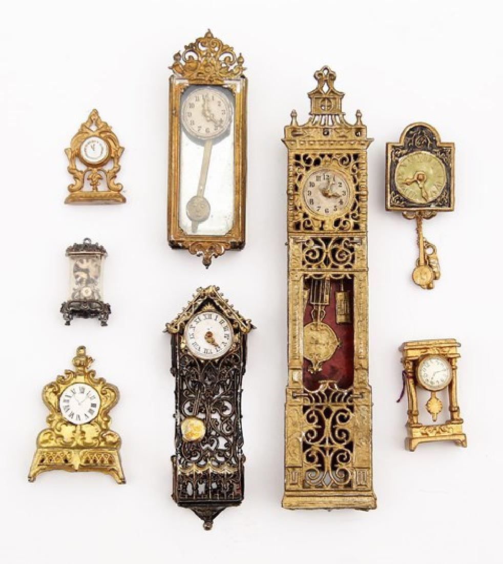 Antique Dollhouse Lead Clocks Miniatures