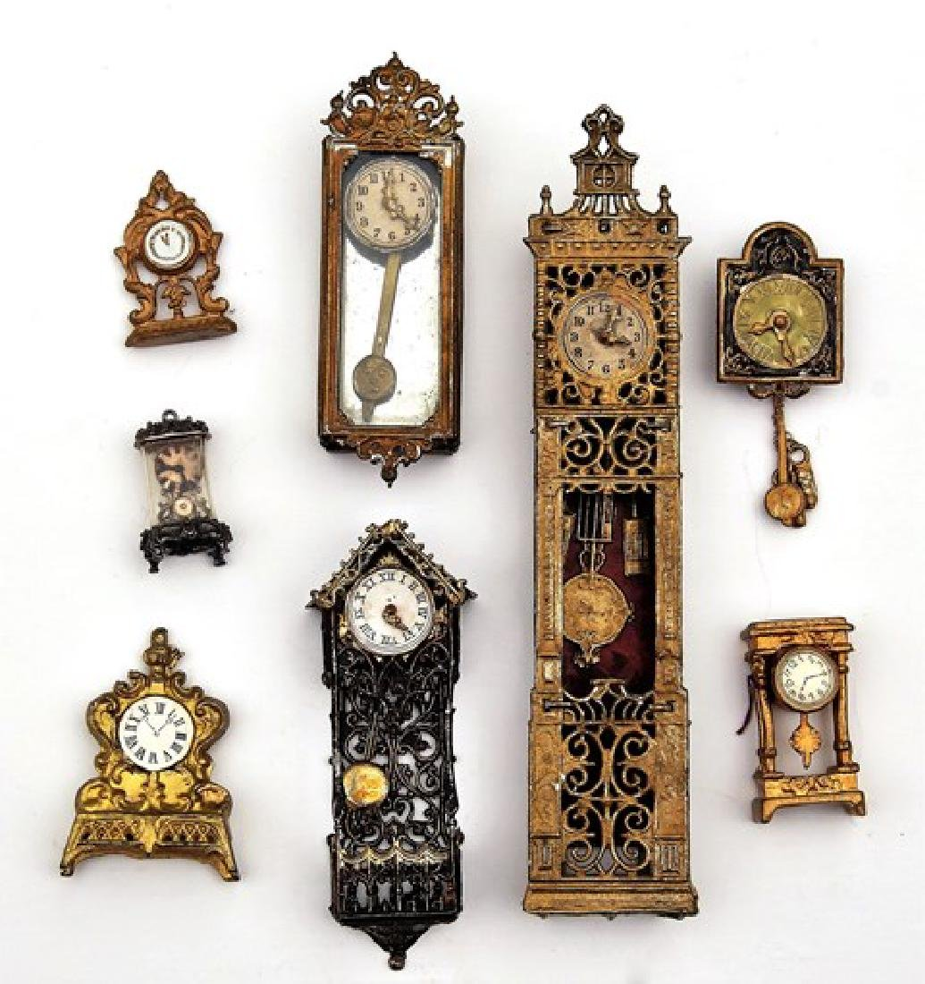 Antique Dollhouse Lead Clocks Miniatures - 2
