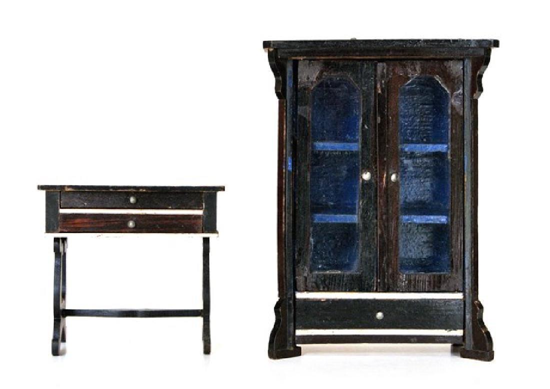 Antique Biedermeier Dollhouse Cabinet & Table