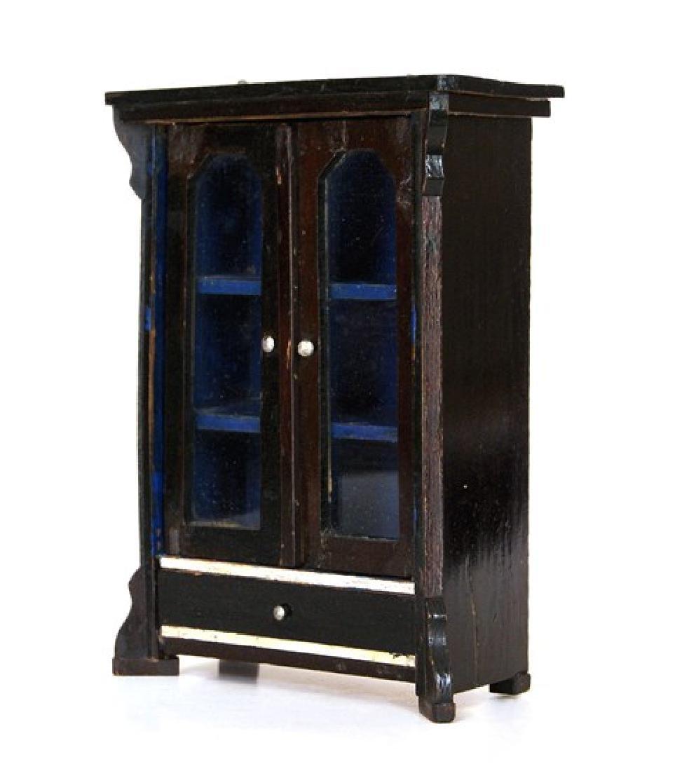 Antique Biedermeier Dollhouse Cabinet & Table - 2