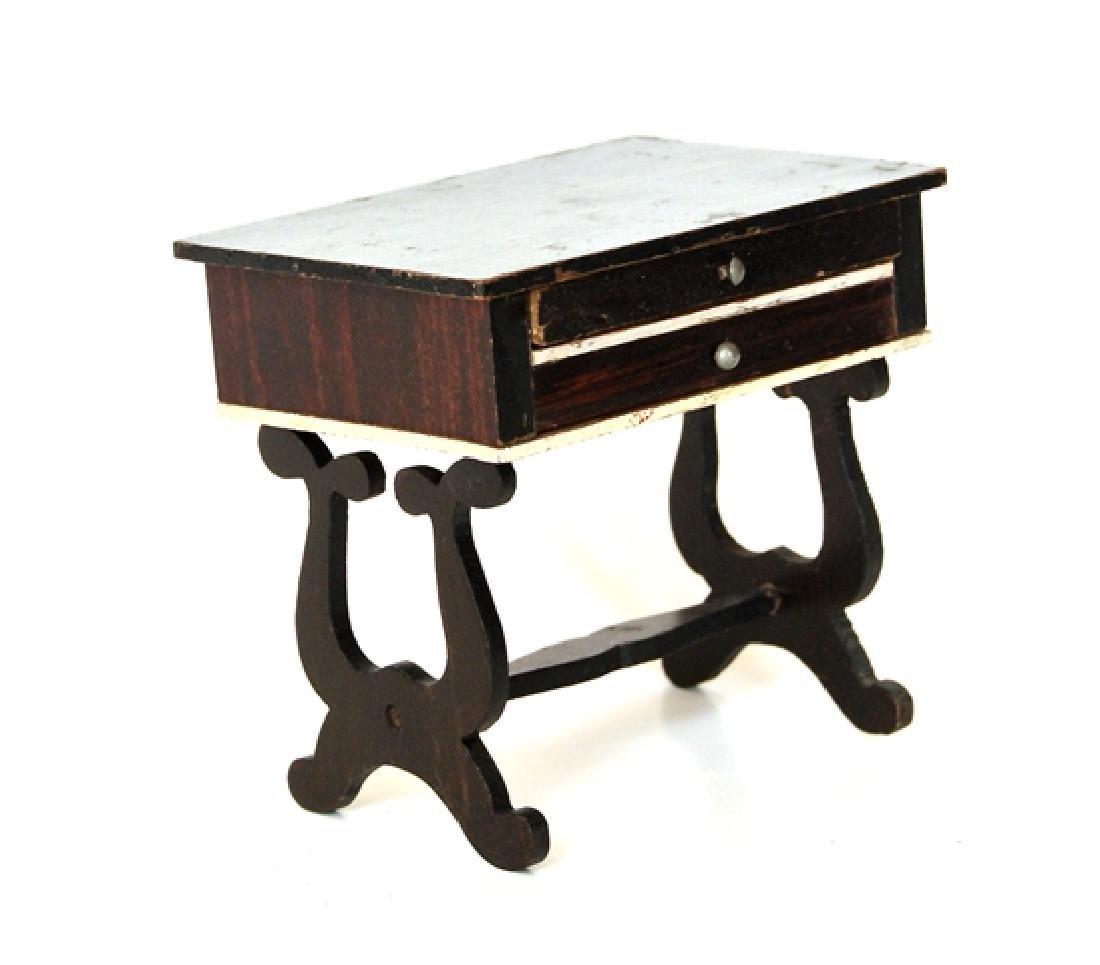 Antique Biedermeier Dollhouse Cabinet & Table - 3