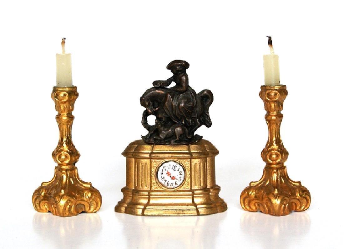 Antique Dollhouse Ormolu Clock & Candlesticks