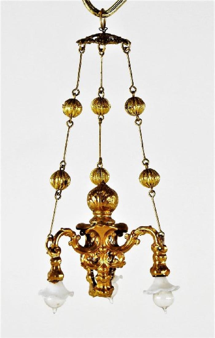 Antique German Dollhouse Ormolu Chandelier Miniature
