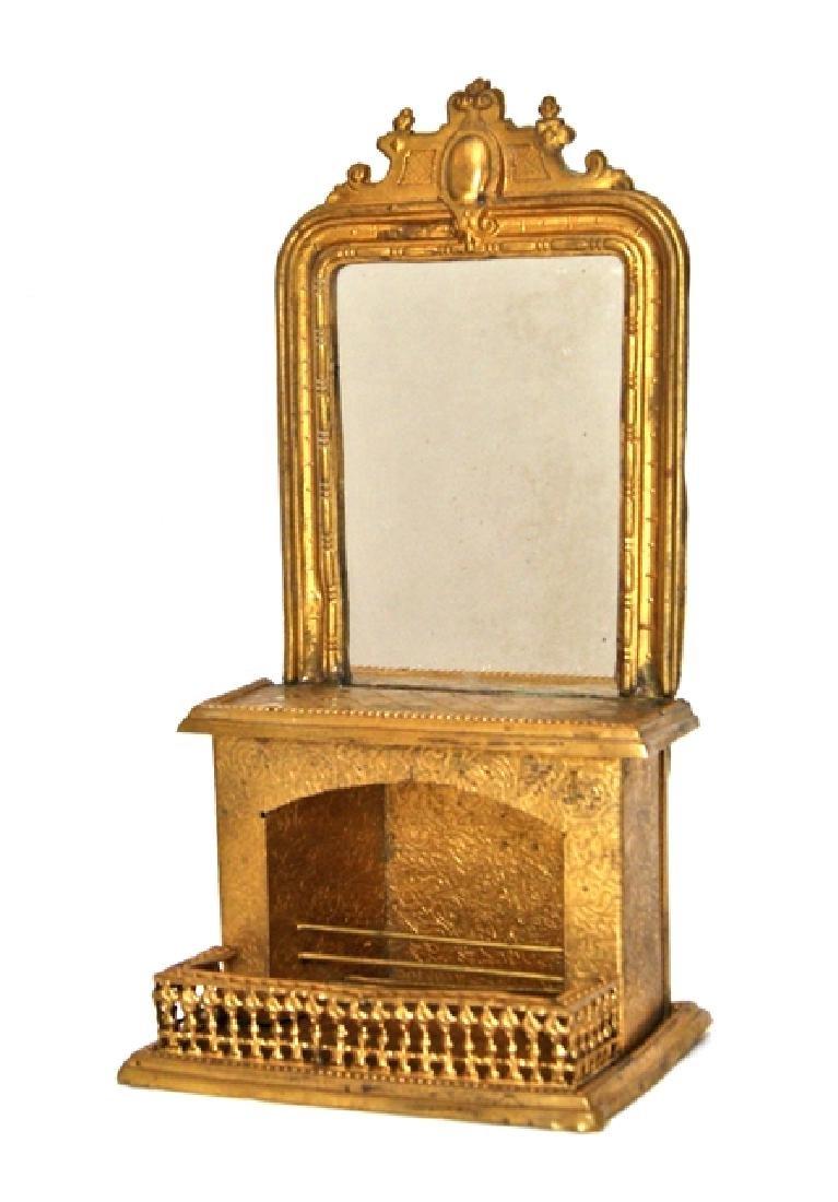 Antique Ormolu Dollhouse Fireplace & Mirror Miniatures