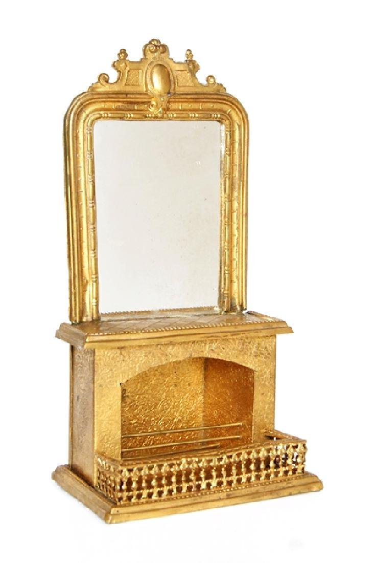 Antique Ormolu Dollhouse Fireplace & Mirror Miniatures - 2