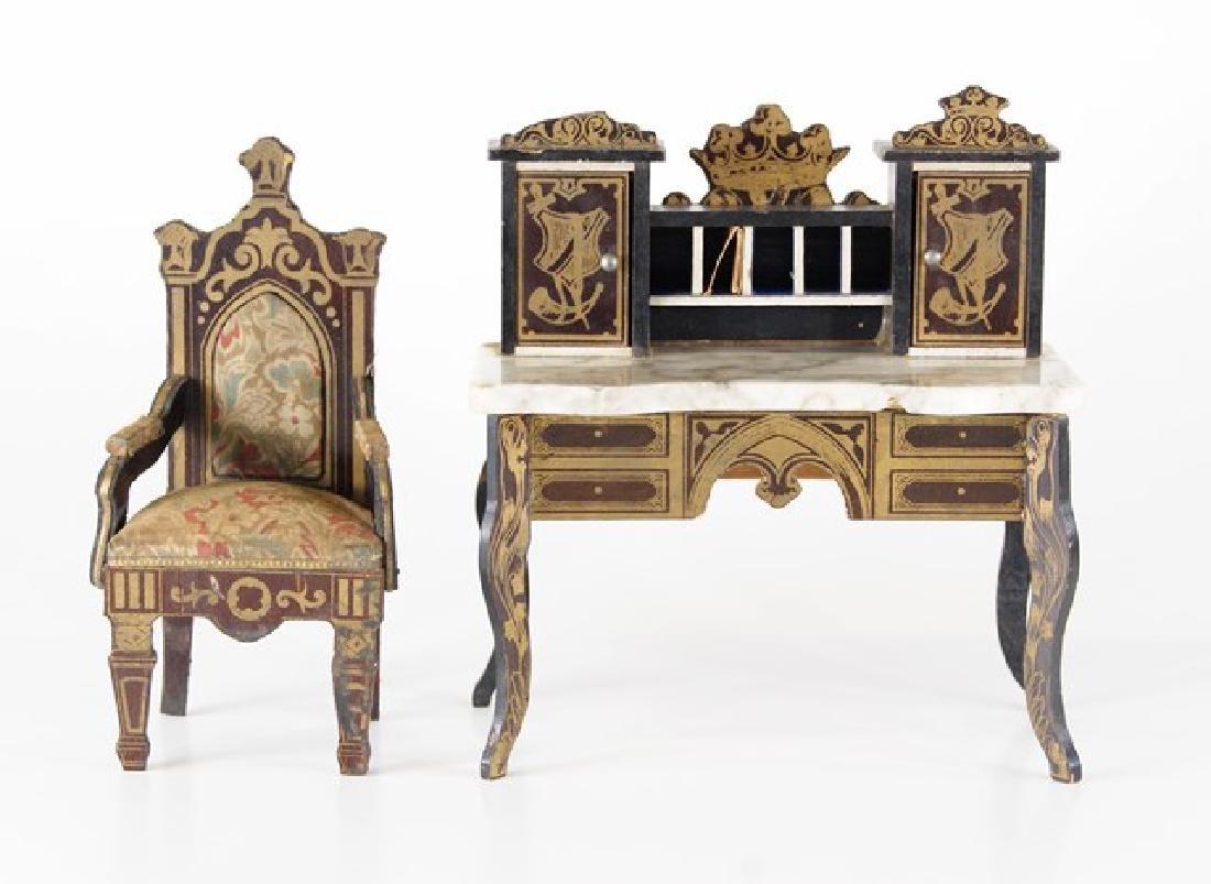 Antique Dollhouse Biedermeier Writing Desk & Chair