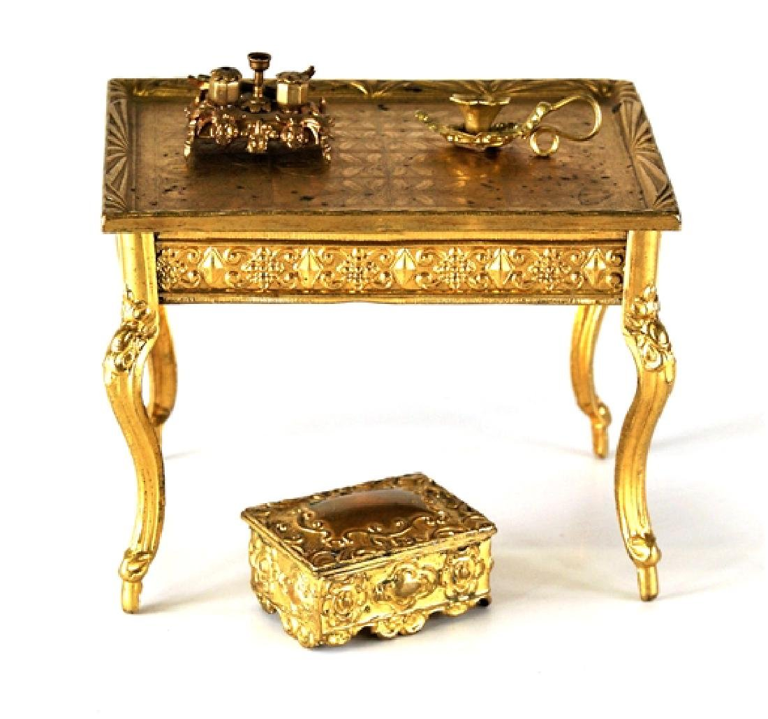 Antique Dollhouse Ormolu Table & Accessories Miniatures