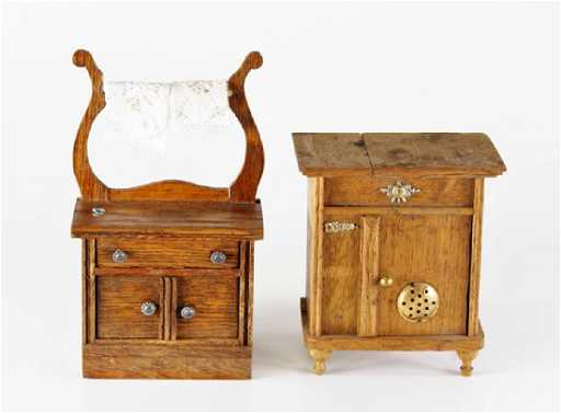 Antique Dollhouse Icebox Wash Stand Miniatures