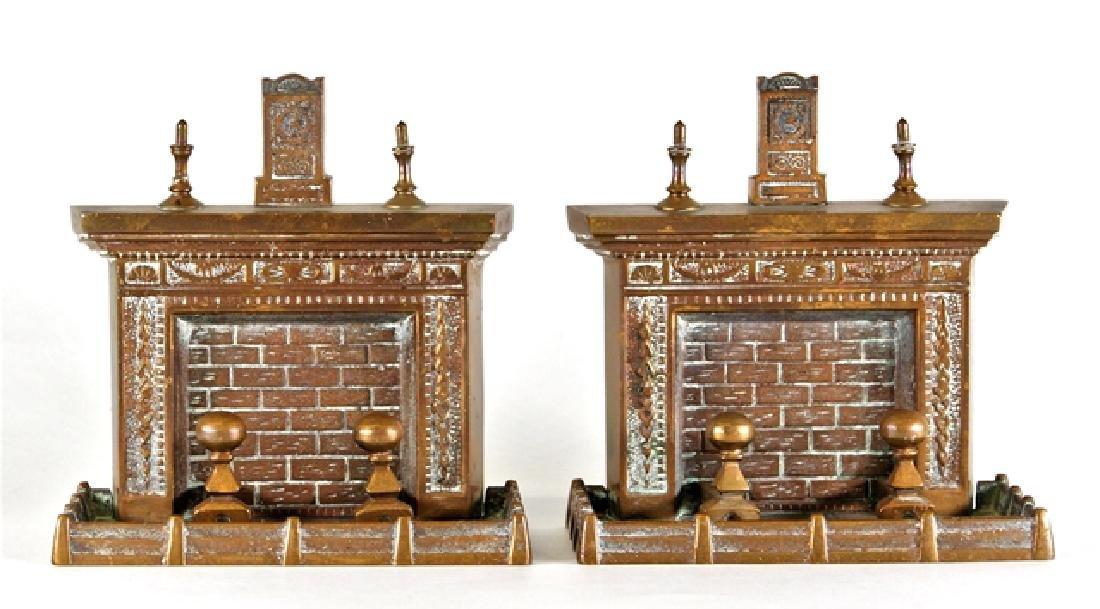 Vintage Dollhouse Sized Brass Fireplace Bookends