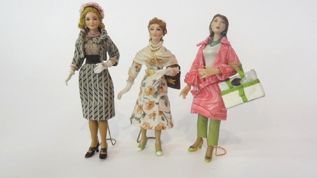 Three Artisan Bisque 1950's-60's Dollhouse Dolls