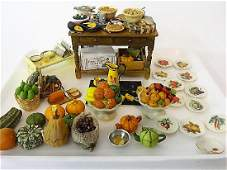 Dollhouse Kitchen Foods and Table