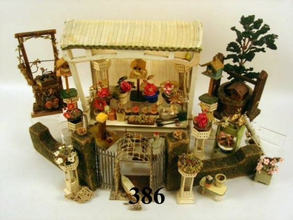 386: Vintage Dollhouse Garden Setting
