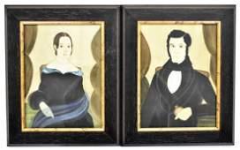 Pair Jacquelyn Trone Folk Art Portraits