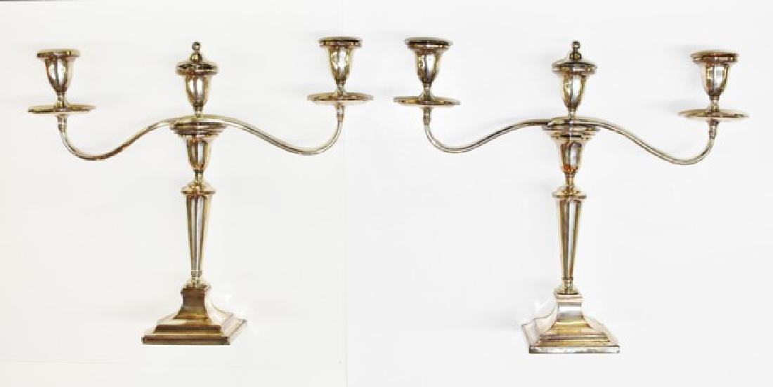 Pair of Large Silver-plate Candelabras