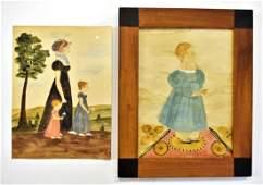 Two Jacquelyn Trone Folk Art Paintings