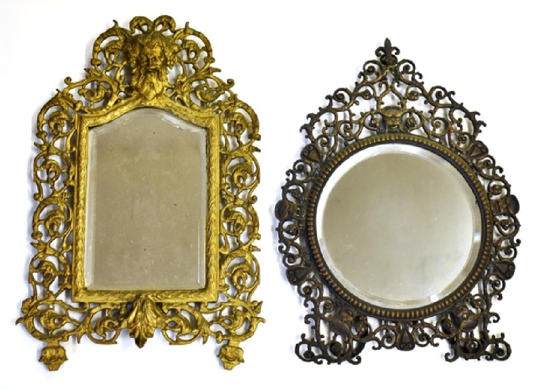 Two Antique Brass Victorian Mirrors