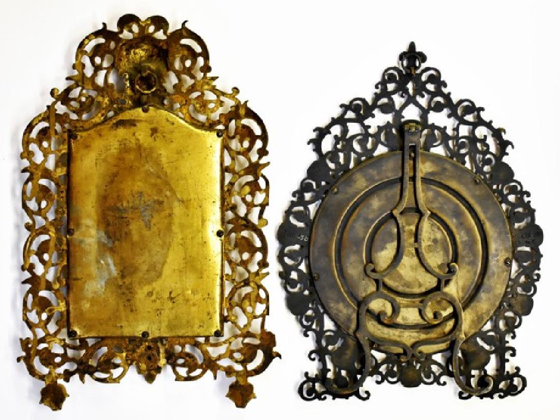Two Antique Brass Victorian Mirrors - 2