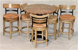 Stone Top Bistro Table & Five Stools