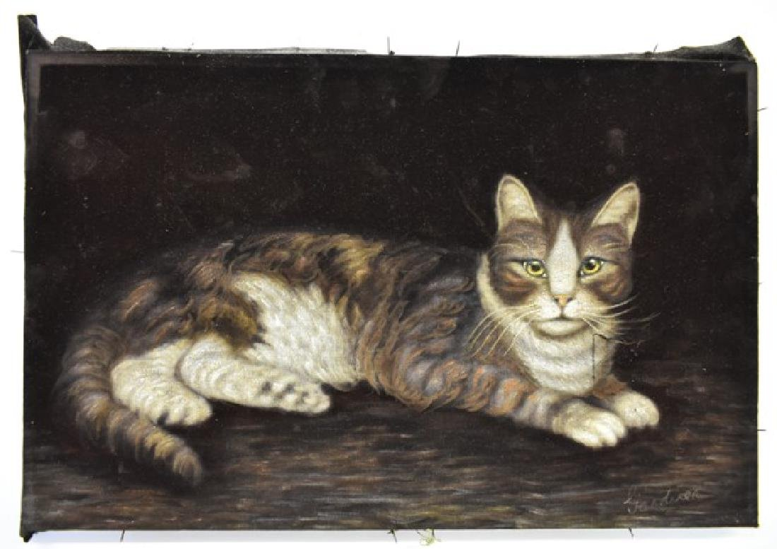 Vintage Cat Painting On Velvet
