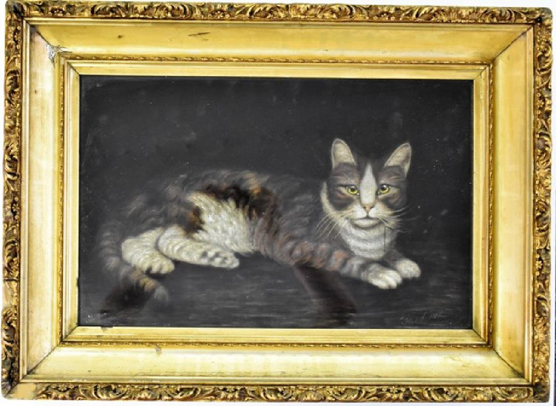 Vintage Cat Painting On Velvet - 2