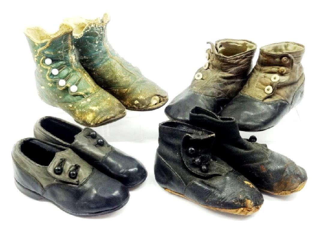 Four Pair Child's Antique Button Shoes