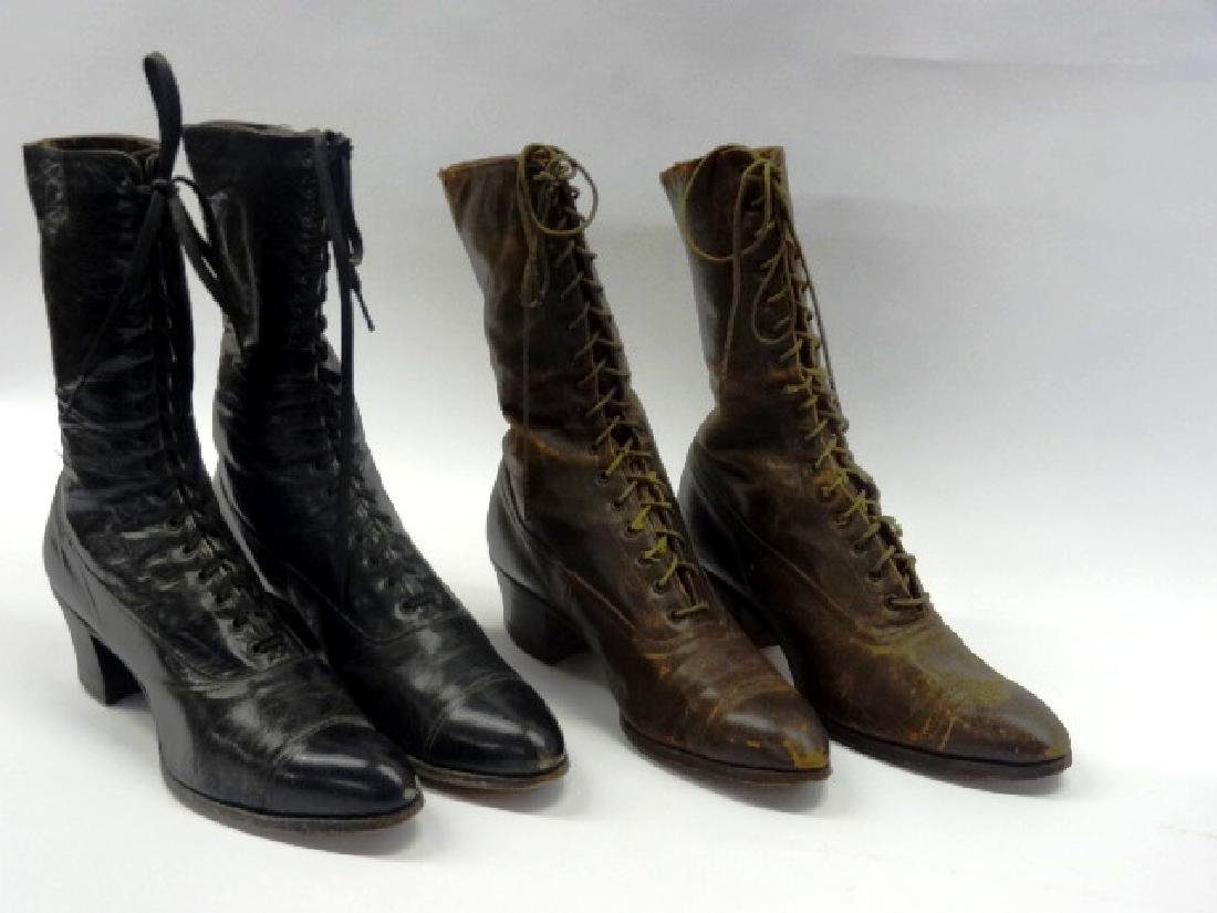 Two Pairs Antique Lady's High Top Shoes
