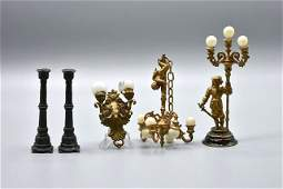 Antique Dollhouse Figural Metal Lighting Miniatures