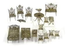 Small Scale Silver Filigree Dollhouse Furniture