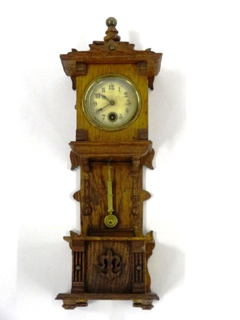 Antique German Dollhouse Tall Case Clock Miniature
