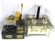 Two Antique Tin Toy Stoves
