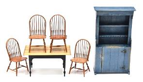 William Clinger Dollhouse Windsor Chairs & Dining Room