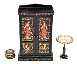 Natasha Dollhouse Wardrobe, Box & Candle Stand