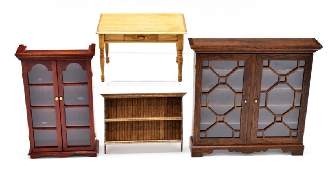 Stevenson & Sherwood Dollhouse Bookcases, Table & Shelf