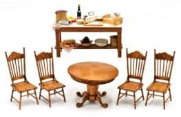 JM Dollhouse Table & Chairs Miniatures