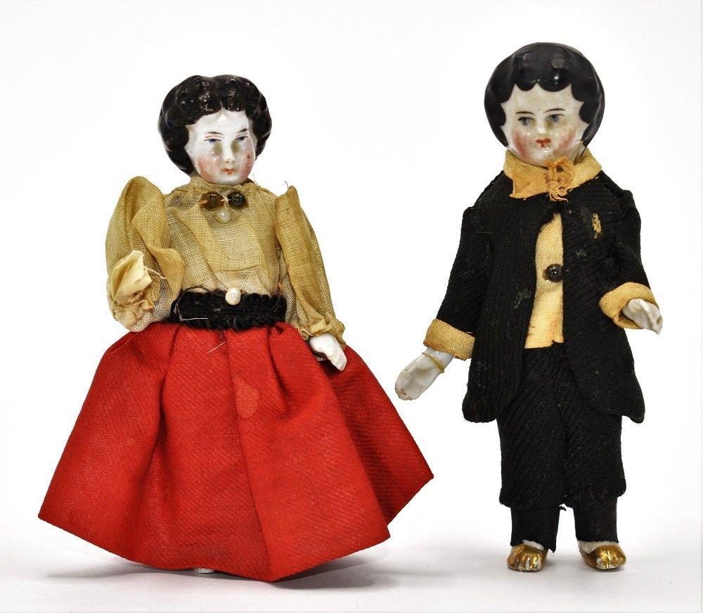 Pair 19th century China Dollhouse Dolls