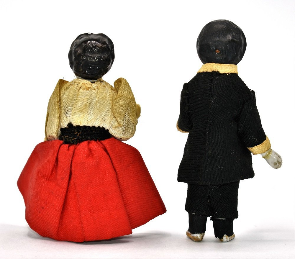 Pair 19th century China Dollhouse Dolls - 2