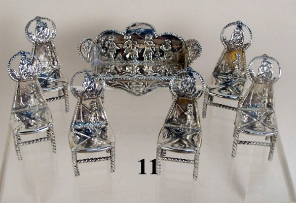 11: Continental Silver Settee & Chairs