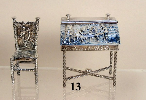 13: Continental Silver Desk & Chair