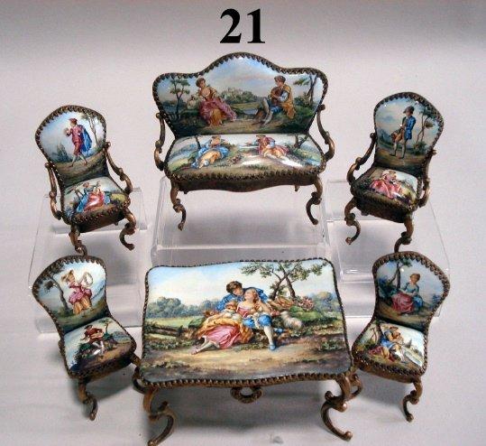 21: Austrian Bronze Enameled Furniture