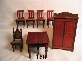 Vintage German Dollhouse Red Stained Furniture