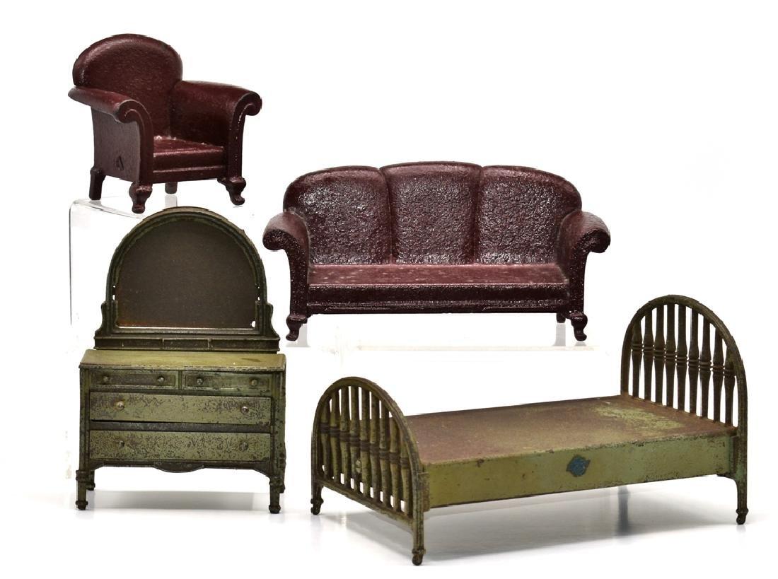 Antique Arcade Dollhouse Iron Bed, Dresser, Sofa &